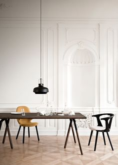 Maritime gas lamps were used as a reference for these pendant lights created by Danish studio Space Copenhagen for design brand & tradition.