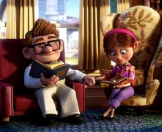 Carl & Ellie from UP. It's me and the hubby except with laptop and or kindle. :)