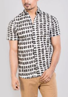Block printed cotton shirts tops and shirt BS Each 13 This shirt is constructed from a handle cotton with block prints pattern .This cotton shirts ensure comfort and fit that easily outshines others.*classic collar shirt *semi formal shirt *half sleeves *Front buttoned.