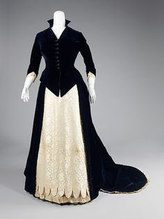 1881 silk and cotton evening dress with a scalloped hemline and Medici style collar by Frederick Loeser & Company, America. This design was displayed in the window of the 19th century Brooklyn department store Loeser's for its 50th anniversary, thereby placing it as an example of what the store considered fine design for the time. Via MMA.