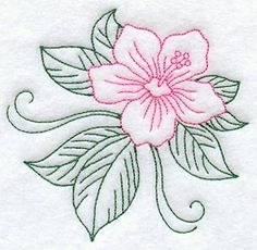 hibiscus+embroidery+pattern | This hibiscus design can be sewn in one color, as traditional redwork ...