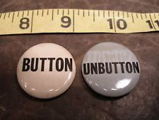 Authentic 60's Hippie Protest Buttons - Pinback - BUTTON & UNBUTTON  very rare