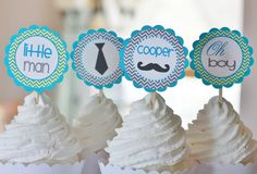 "Mustache Bash Baby Shower or Birthday Chevron ""Little Man"" or ""Its a Boy"" Banner Turquoise Green Grey. $27.00, via Etsy."