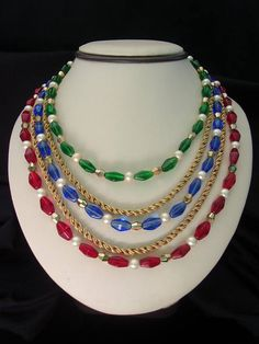 Crown Trifari Glass Necklace Pearl Red Blue Green Gold Bead