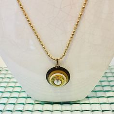 Repurposed Button Pendant Necklace Gold Pearl Necklace Gold