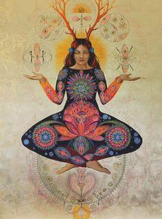 """Je Suis La Tere-Mere"", ""Mother Earth"" by Caroline Maniere, Femme Medicine, Psychedelic Art, Art Visionnaire, Spirited Art, Sacred Feminine, Goddess Art, Visionary Art, Sacred Art, Gods And Goddesses, Fantasy Art"