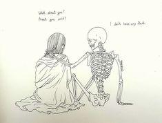 """Haenuli Shin """"Muerte o Depresión"""". Skeleton Drawings, Skeleton Art, Art Et Illustration, Illustrations, Haenuli Shin, Art Mort, Art Triste, Drawing Sketches, Art Drawings"""