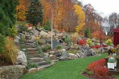 Would love table on the slope, stone steps like this, and many rocks. Would need plants that are included in HOA rules.