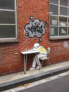 Street-art, graffitti, brick wall, photo
