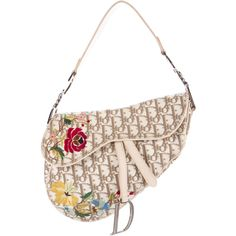 Pre-owned Christian Dior Embroidered Saddle Bag ($330) ❤ liked on Polyvore featuring bags, handbags, shoulder bags, neutrals, preowned handbags, canvas purse, pre owned handbags, white shoulder bag and colorful handbags
