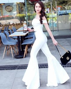 Bell Bottoms, White Jeans, Hot Girls, Jumpsuit, Formal Dresses, Chic, Sexy, Image, Style