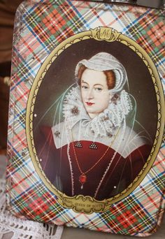 Vintage Tartan Tin--that's Mary, Queen of Scots depicted on front. Would very much like to find one of these charming vintage tins. #scottish #vintage #tartan