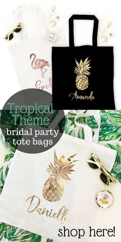 Wedding Gifts For Bride And Groom Beach theme wedding? These cute tropical theme tote bags are the perfect gift for your bridesmaids and maid of honor! Four designs to choose from. Shop here for our entire collection! Bridesmaid Gifts From Bride, Bridesmaid Tips, Bridesmaid Gift Bags, Wedding Gifts For Bride And Groom, Bridesmaids And Groomsmen, Beach Wedding Gifts, Unique Wedding Gifts, Best Bridal Shower Gift, Ultimate Wedding Gifts