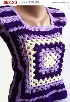 Sale Granny Square Womens Crochet Vest/ Handmade от ElenaVorobey