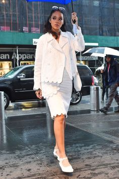 Rihanna hits the streets in all white, get the look here: