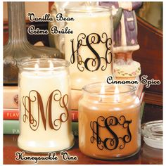 Candles are very easy to make. Monogram and give as get well gifts! :o) – Trendy Fashion & Gifts Vinyl Monogram, Monogram Gifts, Shilouette Cameo, Personalized Candles, Custom Candles, Personalized Christmas Gifts, Personalized Products, Vinyl Gifts, Cricut Vinyl