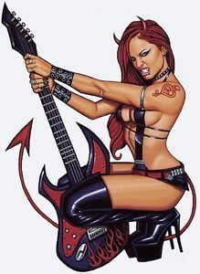 RARE-TATTOOED-GUITAR-DEVIL-GIRL-NUDE-Pin-Up-STICKER-Vinyl-DECAL-By-Scott-Blair