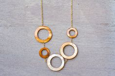 Gold kissed Shell Hoop Necklace - $40