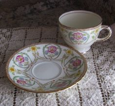 CIJ Sutherland English Bone China, Pretty Multi Floral Vintage Teacup and Saucer, 1930's, Lovely Bridal Shower Gift