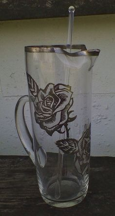 Vintage Etched Glass Rose Silver Band Martini Cocktail Pitcher w/ Glass Stir Rod