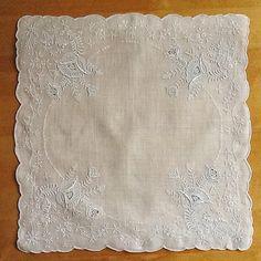 Lace Handkerchief, Wedding Handkerchief, Swiss Handkerchief, Appenzell Style Embroidery, Madeira, Whitework, Fine Swiss Cotton, Unused