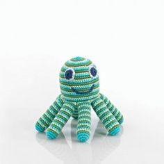 Hand-Knit Green Octopus Rattle from The Frilly Frog
