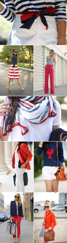 4th of July outfit ideas - colored jeans, polka dots, vertical stripes, red/white/blue scarf