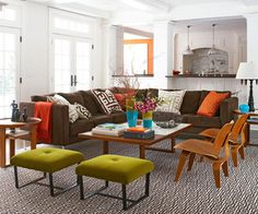 Make Space for Lounging  In living rooms where lounging and TV-watching are the main activities, a sectional sofa offers flexible, comfortable seating. Sectionals come in a variety of units, from armless chairs to love seats, ottomans, and chaises that you can combine to fit your space. The sofa in this living room is oriented toward the TV (not shown) and the extra seating is lightweight and can be easily rearranged to face the TV.