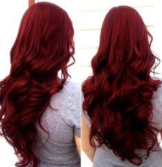 Scarlet hair color with long wavy hair style~ nice dark red hair,love it Hair Color Auburn, Hair Dye Colors, Auburn Hair, Red Hair Color, Hair Color Balayage, Cool Hair Color, Color Red, Bright Red Hair, Dark Red Hair