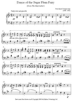 Tchaikovsky - Dance of the Sugar Plum Fairy from the Nutcracker sheet music for Piano