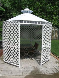 Lovely Outdoor Garden Gazebo made from PVC pipe!! The link to the DIY plans are on this site along with several other creative projects!