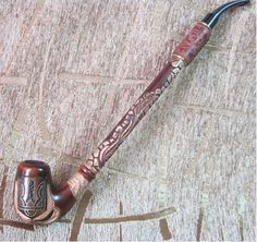 Extra long handmade wooden tobacco pipe  Ukrainian