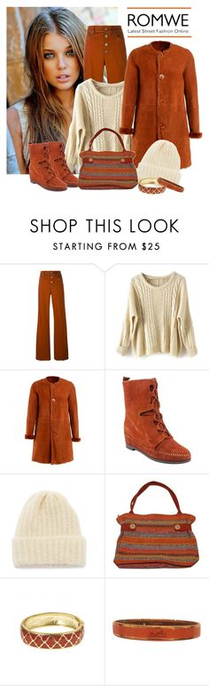 """""""Romwe apricot batwing sweater"""" by lorrainekeenan ❤ liked on Polyvore featuring Sonia Rykiel, DESA, Charlotte Ronson, Howlin', NOVICA, Fornash and Hermès"""