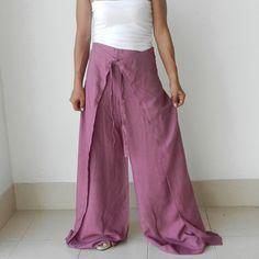 Ladies Sensual String Tie Pink Pants Wrap pants Loose by thaisaket, $28.00