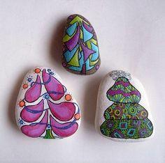 Set of 3 doodle christmas tree painted rocks - free usa shipping