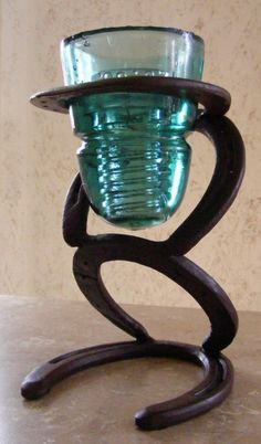 Home › TomsCritters  Horseshoe And Glass Insulator Candle Holder  $65.00
