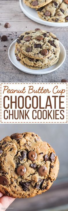 These Giant Peanut Butter Cup Chocolate Chunk Cookies are big, chewy, and full of peanut butter, peanut butter cups, and rich melted chocolate! If you love chocolate and peanut butter, these cookies will become a quick favorite.