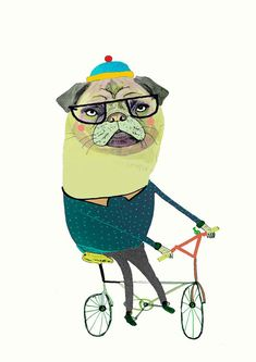 Pug on bike. limited edition art print by illustrator Ashley Percival. Pug Art.. $30.00, via Etsy.