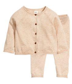 Cardigan+Hose aus Baumwolle | Hellbeigemeliert | Kinder | H&M DE