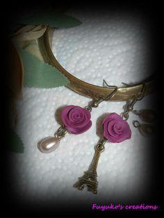 "earring ""Love Paris"" -polymer clay-"