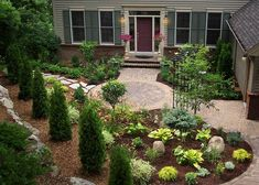 Front yard patio. I would make brick patio larger. I like the look of the angled line back towards corner of house, maybe plant a tree in the grass beyond, and don't use evergreen shrubs. #landscapefrontyardmulch