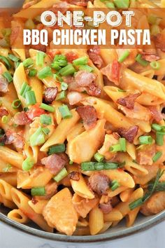 BBQ Chicken Pasta is quick, easy, and cooked in one pan. Loaded with chicken, bacon, cheese, and BBQ flavors, it's a crowd-pleaser! #pasta #chicken #onepotmeals #weeknightdinners Barbecue Chicken, Chicken Bacon, Chicken Pasta, Penne Pasta, Pasta Salad, Roma Tomatoes, Onion Rings, One Pot Meals, Weeknight Meals
