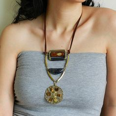 Ethnic Brass Statement Necklace  Mix-media by osofreejewellery
