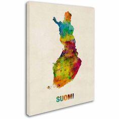 Trademark Fine Art Finland Watercolor Map (Suomi) Canvas Art by Michael Tompsett, Size: 24 x 32, Multicolor