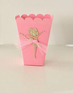 Ballerina Dancer Popcorn Box Pink - Gold Tutu Tulle Favor Box for Birthdays, Baby Showers, Ballerina Parties Set of 10 Ballerina Birthday Parties, Birthday Party Favors, Baby Birthday, Birthday Decorations, Baby Shower Decorations, Ballerina Party Favors, Ballerina Gold, Monsters Inc Baby Shower, Pink Und Gold