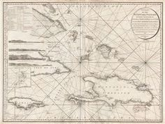 A mesmerizing and extremely scarce 1795 Charles Roberts nautical chart of the Windward Passage, between Cuba and Hispaniola (Santo Domingo), in the Greater Antilles, West Indies.  Centered on Great Iguana Island (Le Mornet or Grand Inague) in the modern day Bahamas, this map covers from eastern Cuba to the Porto Rico Channel and from Guanahani Island (Cat Island, where Columbus supposedly landed) southwards to include all of Hispaniola and Jamaica.  Cuba is overlaid with four land profiles…