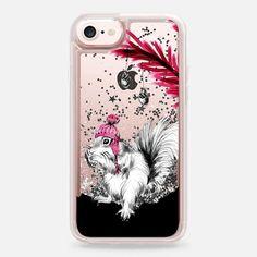 Casetify iPhone 7 Liquid Glitter Case - Snow Squirrel (pink) by Zara Martina Mansen