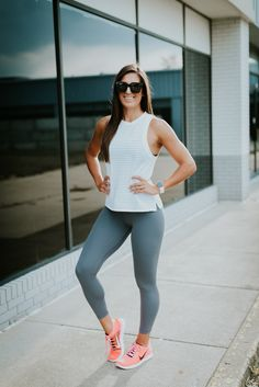 White and grey workout outfit