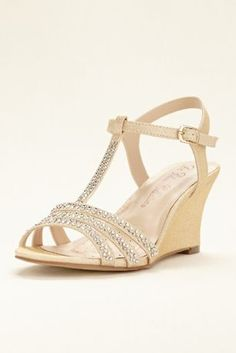 """Top off your evening look with these on-trend crystal embellished t-strap wedge sandals by Blossom!  T-strap wedge sandals with crystal embellishments on the toe and t-strap.  Heel height: 3""""  Fully lined.  Imported."""