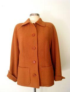1960s PUMPKIN SPICE Wool Coat by LolaVintage on Etsy.